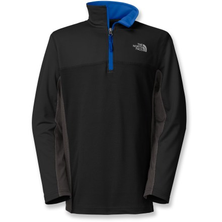 Fitness The North Face Komit Performance Quarter-Zip top offers boys a cozy fleece pullover that feels like their favorite sweatshirt but stands up to high levels of activity and frequent wear. Stretch polyester fabric with VaporWick(TM) wicks moisture away from the skin so he stays dry and comfortable when working hard. Integrated UPF 50+ sun protection continuously guards against harmful ultraviolet rays. Quarter-zip at the neck promotes venting and contrast zipper brightens up his style. The Komit Performance Quarter-Zip top features flat-locked stitching that minimizes irritation and chafing. - $50.00