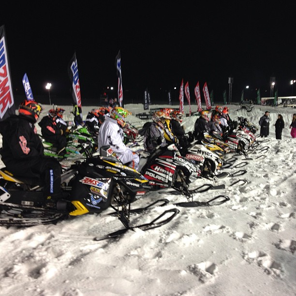 Snowmobile All the pros are lined up and ready to go!!