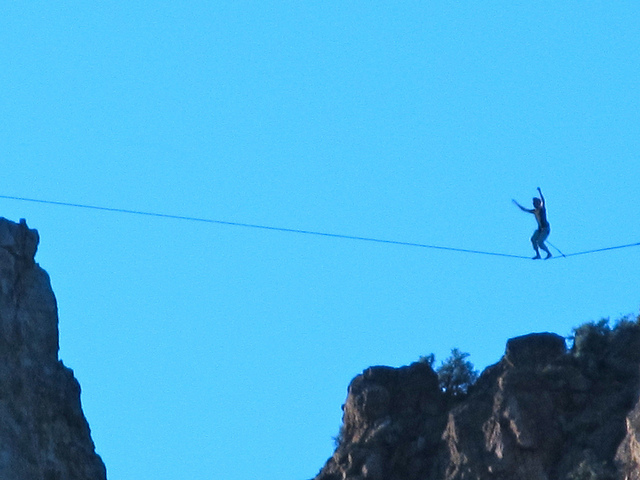 Extreme slack-lining at Smith Rock State Park