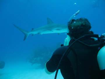 Scuba Chuck taking my pic while I'm taking a pic in the Grand Bahamas