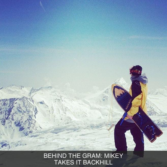 Snowboard Mikey Rencz recently posted a photo of himself in Switzerland looking like he was about to drop in on an '86 Burton Backhill. Intrigued, we had to find out what was going on, see the backstory in Behind the Gram. http://bit.ly/13btgram