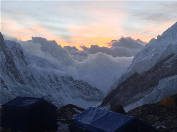 "Camp and Hike Eddie Bauer guide Dave Hahn checks in from Everest: ""Back in BC after a week up high. To 23,500 ft on the Lhotse Face."""