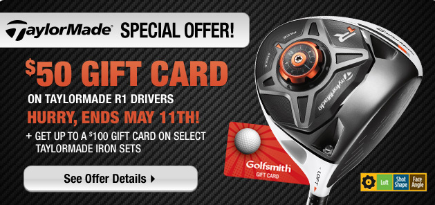 Golf Check out this special offer from TaylorMade Golf! Get up to a $100 gift card on select TaylorMade club purchases. Hurry, ends May 11th! Learn more here: http://bit.ly/YjfD5L