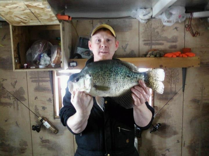 Fishing Chris Rick - March 2013 -- Jamestown, ND, 3 ¼ -pound 17-inch crappie Jamestwon Reservoir, caught on a white glow hook and tied the ND state record.   Random vote winner:  Robert Baumann from Circle Pines, MN