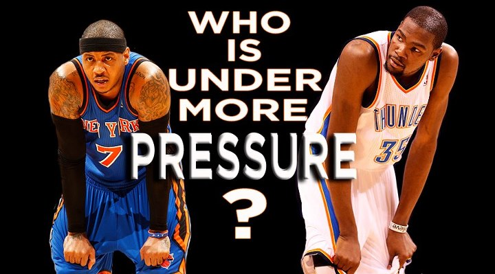 Sports Who is under more pressure heading into Game 6 tonight: Camelo Anthony or Kevin Durant?  LIKE for MELO, COMMENT for DURANT