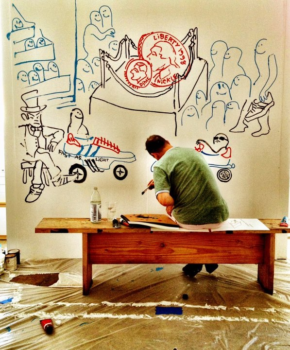 "Skateboard Mark ""The Gonz"" Gonzales putting finishing touches on HVW8 Art + Design Gallery for this weekend."
