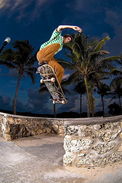 Skateboard Aaron Gap to Tail in Miami's South Beach.