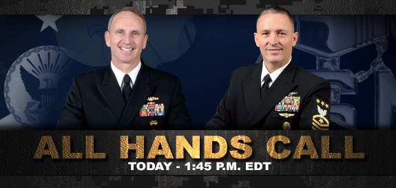 Guns and Military Watch and participate in Chief of Naval Operations Admiral Jonathan Greenert's All Hands Call at Naval Air Station Jacksonville live starting at 1:45 p.m. EDT today at http://ow.ly/kDIzm.  Submit your questions for the CNO and Master Chief Petty Officer o