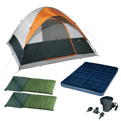 Entertainment With the Eagles Camp Four-Person Camping Combo, you and your family can enjoy high-quality camping trips for a low-cost deal. Combo includes tent, air pump, air bed and two sleeping bags.You wont find a better value or a better price on a dome tent than the four-person Eagle Camp Family Voyager. Especially suited for warm-weather camping, tent has generous mesh on the side windows, doors and tops for superb ventilation. It also has a special silver-colored coating to reflect sunlight and keep the interior cool. Tent and fly material is sturdy polyester taffeta thats polyurethane-coated for extra water resistance. Interior storage pockets provide organization. Shock-corded fiberglass poles.Weight: 11 lbs. 3 oz.Dimensions: 9 ft. x 9 ft.The Intex Quick-Fill DC Pump is a sleek, aerodynamic design that fits perfectly in the palm of your hand, yet still inflates even the largest inflatables in a breeze. Operates on DC power from a 12-volt power outlet in your vehicle or any other 12-volt outlet. Includes three interconnecting nozzles to fit small, medium and large air valves.With plush flocking on the top, the Intex Classic Downy Queen Air Bed offers a luxurious sleeping surface and prevents bedding from slipping off. Waterproof flocked top can handle outdoor camping use and cleans easily. 2-in-1 valve has extra-wide openings for fast inflation and deflation. Wave-beam construction gives it a uniform sleeping surface. 8.75 mattress thickness offers extra-soft comfort. Folds compactly for easy storage and travel. Durable, heavy-gauge vinyl. 14-gauge vinyl beams. 15-gauge bottom.Available: Queen.Affordable warm-weather camping comfort is yours with the Eusebio Sleeping Bags. Polyester shell and liner. 4-lb. hollow-fiber fill. Imported.Dimensions: 35W x 77LFill weight: 4 lbs. - $269.95