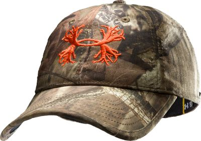 Hunting The camo pattern and embroidered antler-inspired logo of the Under Armour Camo Antler Cap communicate your priorities loud and clear. Made of 100% polyester with a HeatGear sweatband that wicks away moisture. One size fits most. Imported. Camo patterns: Mossy Oak Break-Up Infinity, Realtree XTRA. Size: One Size. Color: Mo Break-Up Infinity. Gender: Male. Age Group: Adult. Pattern: Embroidered. Material: Polyester. Type: Caps. - $24.99