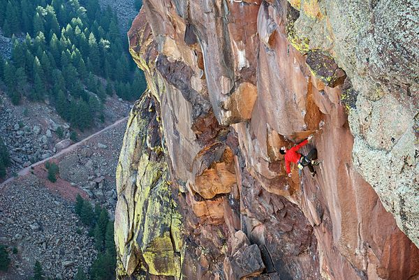 Climbing First Free Ascent of Centaur, Eldorado Canyon, Colorado
