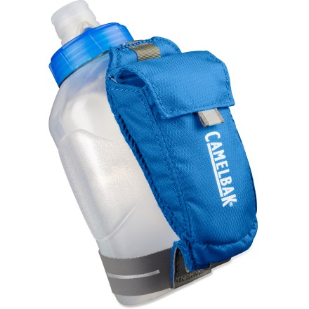 Fitness The CamelBak Arc Quick Grip water bottle keeps your hydration at hand while on a run, and carries your running essentials in the small attached pocket. - $9.93
