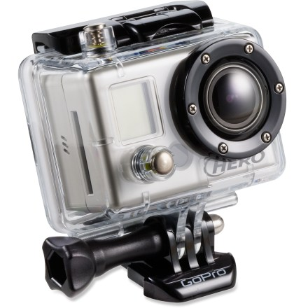 Entertainment The high-performance GoPro HD HERO Naked helmet cam records professional-quality resolution up to 1080p, capturing your outdoor adventures in incredibly smooth and clear detail. Shoots 1080p, 960p HD video at 30 frames per sec.; 720p HD at 30 or 60 frames per sec.; WVGA video at 60 frames per sec. 170deg wide-angle lens captures amazingly wide and sharp HD video. Waterproof camera mounts to helmets, bikes and vehicles, and can be submerged to 180 ft. Shoot up to 2.5 hrs. of TV-quality video with sound on a full charge and up to 9 hrs. total with a 32GB SD card (not included). Catch interval action sequences with still photos autmatically captured every 2, 5, 10, 30 or 60 sec. Fixed focus (2 ft./.6m) glass lens offer sharp still images and smooth, clear video; aperture is f/2.8 for high performance in low light. Lens offers 170deg ultra-wide angle in WVGA, 720p and 960p mode; 127deg wide angle in 1080p mode. Compatible with Windows ME/2000/XP/Vista or Mac OS 9.1/10.2 and later; no driver required. Supports up to 32GB SD card (not included). Sturdy, polycarbonate waterproof housing protects camera to 180 ft. Comes with lithium ion battery, waterproof quick-release housing, curved adhesive mount and quick-release buckle. Also includes a USB cable, component video (HDTV) cable and composite video + audio out cable. . - $111.93