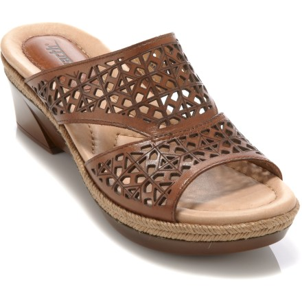 Surf Perfect for sunny summer days, the Earth Ilara sandals feature finely tuned cutouts throughout the full-grain leather uppers and natural jute that wraps the wedge heel to help keeps things casual. Multi-density cushioning, reinforced arch support and shock-absorbing, padded heel areas keep your feet comfortable throughout a busy day. Rubber outsoles offer grip. Closeout. - $34.73