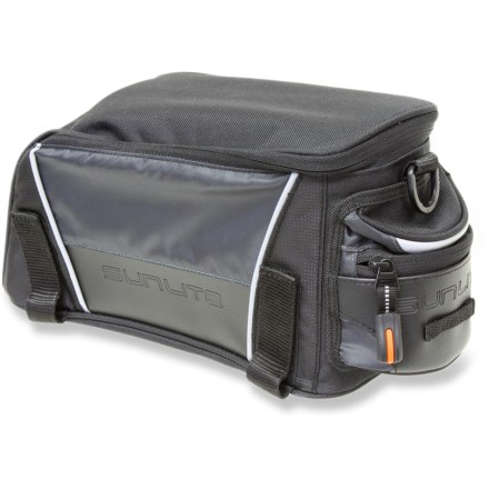 Fitness For days when you find yourself traveling light, the small Sunlite RackPack bike bag is the perfect size for carrying the essentials without weighing down your bike with bulky baggage. 5.7L main compartment is just the right size for your lunch or extra bike tools and tubes; exterior zipper pocket keeps small items such as keys or a phone within easy reach. Water-resistant, 600-denier polyester easily withstands daily wear and tear. The Sunlite small RackPack bike bag attaches securely to your rear bike rack with 4 rip-and-stick straps (rack not included). Closeout. - $10.73
