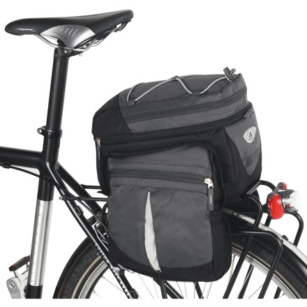 Fitness Decide for yourself when bigger is better. The VAUDE Silkroad Plus bike trunk bag expands to nearly double its capacity when you're ready to trade short rides for a gear-heavy cycling adventure. Roomy main compartment holds up to 8 liters with an additional 7 liters of room when you expand the side pockets and top compartment. Secure the VAUDE Silkroad Plus bike trunk bag to your rear bike rack with 4 rip-and-stick straps. Polyurethane-coated 600-denier polyester withstands daily wear and tear. Removable shoulder strap; waterproof rain cover; safety light attachment point; reflective details. Closeout. - $47.73