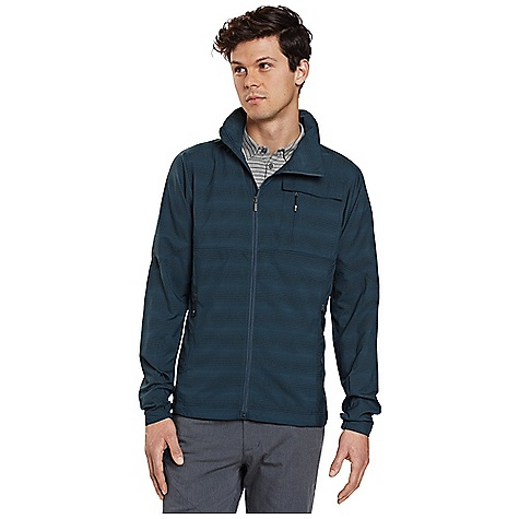 Free Shipping. Nau Men's Lightbeam Jacket DECENT FEATURES of the Nau Men's Lightbeam Jacket Lightbeam fabric is super lightweight and packable Offset full zip-front with DWR and wind flap for water repellency and protection Foldaway hood zips into collar with a concealed zipper Two hand pockets secured with hidden zippers Dual left chest pocket features drop-in pocket with snap-secured flap and hidden security zip pocket Elastic cuffs and drawcord waist for flexibility The SPECS Weight: 9.4 oz Regular fit Teijin Ecocircle technology 100% recycled polyester in a soft shell pucker weave featuring two-way stretch and DWR finish for water repellency - $184.95