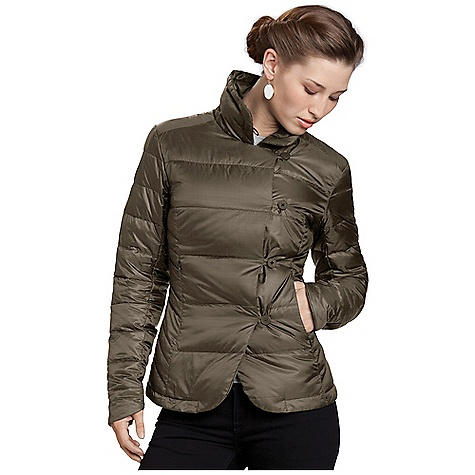 Free Shipping. Nau Women's Down Blazer DECENT FEATURES of the Nau Women's Down Blazer Insulation - 800 fill goose down Asymmetrical 4 button front Button tab on collar for neck coverage 2 zip hand pockets Shaped sleeve hem The SPECS Weight: 6.2 oz Shell and Lining: 22 denier 48 g 100% Teijin Ecocircle recycled polyester ripstop with subtle variable stripe pattern DWR Insulation: 800 fill goose down - $214.95