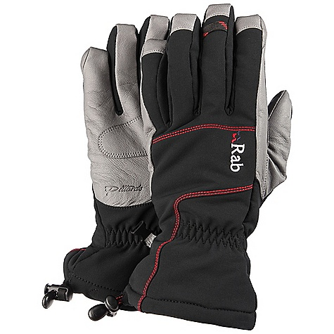 Features of the Rab Women's Baltoro Glove Matrix DWS outer fabric Pittards Armortan palm Primaloft Insulation on back of hand High pile lining on back of hand Bemberg palm lining printed with Rab logo design Leather reinforcement patch over critical seams Box finger pre-curved construction Drawcord cuff closure Back of thumb flocking patch - $80.00