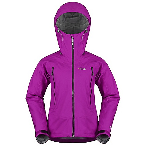 Free Shipping. Rab Women's Myriad Jacket DECENT FEATURES of the Rab Women's Myriad Jacket Polartec NeoShell 3L fabric Helmet compatible hood with wired peak 2 YKK Aquaguard zipped bonded A-line pockets YKK Aquaguard front zip, internal flap, rain drain Internal YKK zipped bonded pocket Tricot lined collar Velcro cuffs, hem drawcord Reflective trim Fit: Regular The SPECS Weight/m2: 115 g/m2 Comp: 40% nylon, 30% polyester, 30% Polyeurethane Ripstop Total Weight: 12 oz / 345 g This product can only be shipped within the United States. Please don't hate us. - $375.00