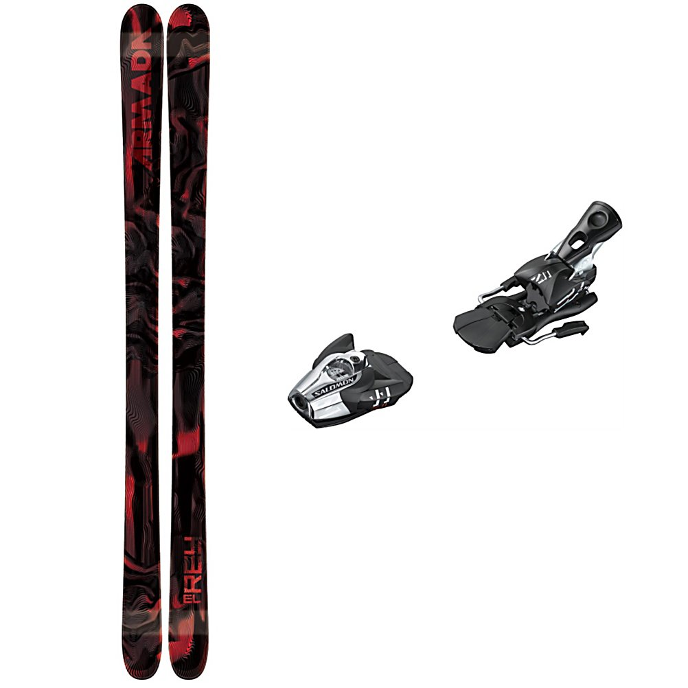 Ski Armada El Rey Ski Package - A versatile ski package for the teen and intermediate park rider, the Armada El Rey Ski Package is great for both the rails and the trails. The Armada El Rey keeps things simple using the Fleet Core and Positive Camber provide smooth and predictable pop for easy turning and good energy as well as a great edge hold to keep everything under control for setting spins or shredding all mountain. The El Rey is beefed up with a 2.5 Impact Edge which undergoes a hardening process to strengthen it. It's double the size of standard edges for resistance to cracking so it was made to take on lots of abuse. The Salomon Z11 Bindings are lightweight and high performance. Salomon's vertical progressive pivot offers a controlled release for backward falls which in turn gives you protection and confidence to heighten your speed and fun. The high lateral transmission gives you more precision and more control over your skis. For durability, responsiveness and overall reliability, you'll be the king of the mountain with the Armada El Rey Ski Package. . Tip/Waist/Tail Widths: 121/85/111mm (@ 171cm), Actual Turn Radius @ Specified Length: 17.5m (@ 171cm), Type: Freestyle Skis, Construction Type: Cap, Tail Profile: Twin, Special Features: Laminate Matrix, Max Din Setting: 4-11, Rocker: Camber, Skis:: Armada El Rey Skis, Binding Weight Range: 80-250 lbs., Turn Radius: 16-20, Waist Width: 76-85mm, Ski Bindings:: Salomon Z 11 Wide Brake Ski Bindings, Ski Gear Intended Use: Freestyle, Skill Range: Inter - $314.95