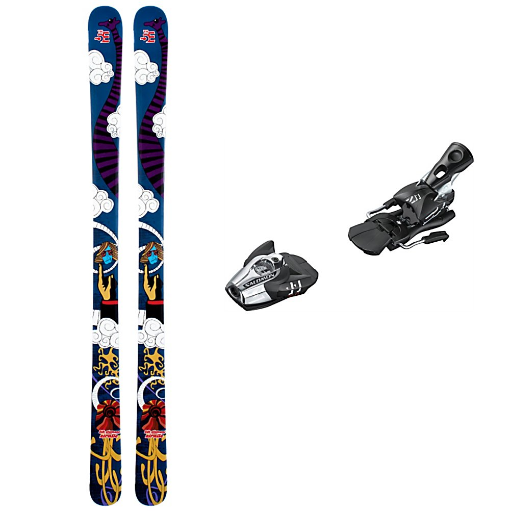 Ski 5th Element Zirrafe Ski Package - The 5th Element Zirrafe Ski Package is here to help athletic beginners to intermediate skiers continue to improve while allowing them to ski everything the mountain has to offer. The 5th Element Zirrafe Skis provides you with great edge hold and a smooth skiing experience. With a touch of rocker in both the tip and tail and a mellow rise you'll have an almost automatic turn initiation without sacrificing the edge feel and control as speed increases. The rocker also increases the performance of the Zirrafe off-piste allowing it to float on crud and powder for effortless arcs no matter the snow pack. The Salomon Z11 Bindings are lightweight and high performance. Salomon's vertical progressive pivot offers a controlled release for backward falls which in turn gives you protection and confidence to heighten your speed and fun. The high lateral transmission gives you more precision and more control over your skis. A great confidence builder which in turn allows you to exceed your own expectations, the 5th Element Zirrafe Ski Package will have you performing at your best each time you head to the mountain. . Tip/Waist/Tail Widths: 115/85/106mm, Type: All-Mountain Skis (75-90), Construction Type: Sidewall, Tail Profile: Twin, Max Din Setting: 4-11, Rocker: Tip Rocker/Camber, Skis:: 5th Element Zirrafe Skis, Binding Weight Range: 80-250 lbs., Turn Radius: 11-15, Waist Width: 76-85mm, Ski Bindings:: Salomon Z11 Bindings, Ski Gear Intended Use: All Mountain, Skill Range: Intermediate - - $219.95