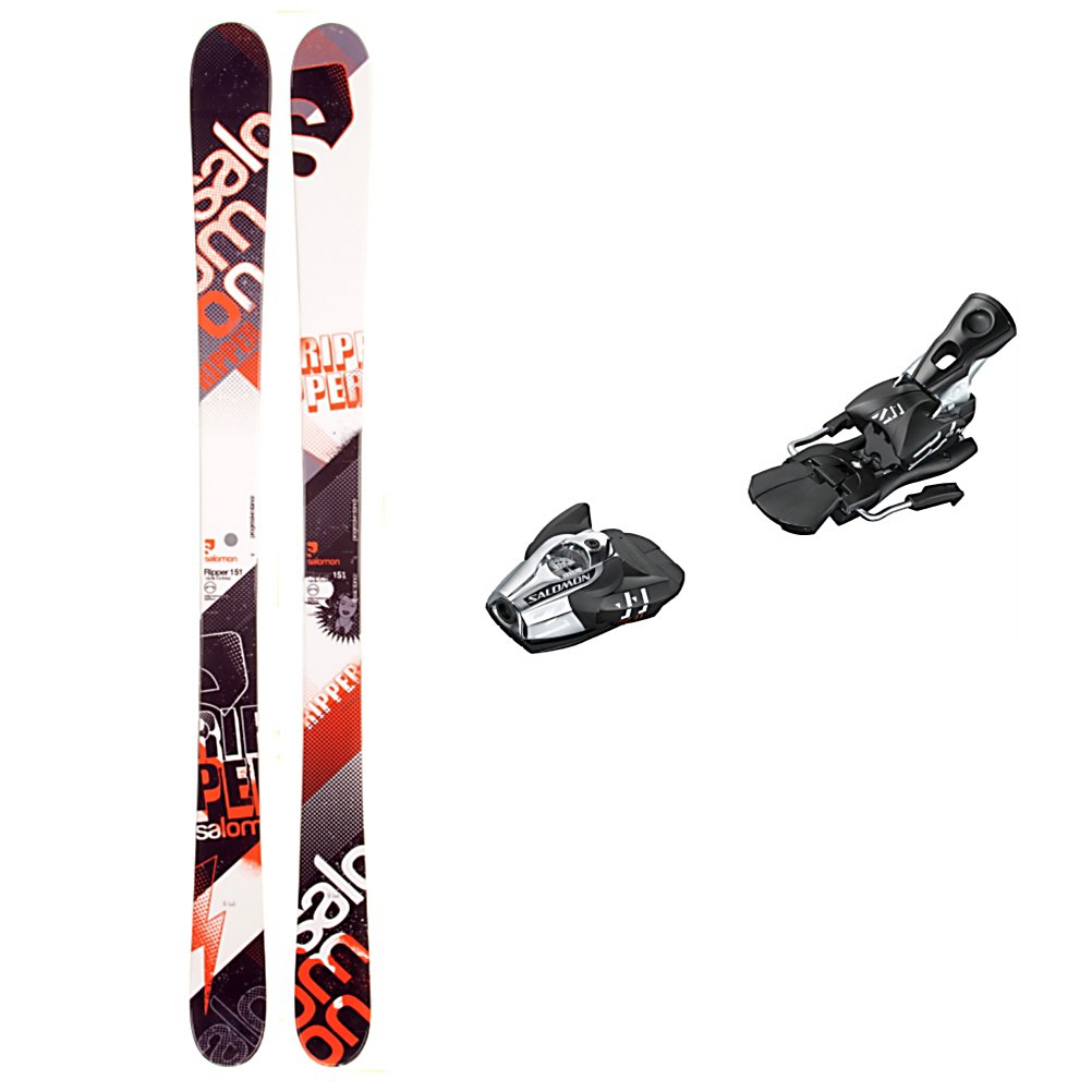Ski Salomon Ripper Ski Package - The Salomon Ripper Ski Package was made for the beginner to intermediate twin tip skier who dabbles in the groomed trail area but mostly spends their time in the park. The Salomon Ripper Skis are traditionally cambered giving you plenty of spring and pop in the ski whether you're a lightweight or less aggressive skiers. Wide edges increase durability and improve shock resistance. The lightweight composite core is forgiving and mellow for building confidence and reducing fatigue. The Salomon Z11 Bindings feature the Salomon vertical progressive pivot provides a release for backward falls which in turn gives you protection and confidence to heighten your speed and fun. High lateral transmission gives you more precision and more control over your skis to give you better overall performance. So if you want to hone your skills and start getting serious about boosting out of the half pipe, sliding on rails and spinning off of kickers then you'll want to start off with the Salomon Ripper Ski Package. . Tip/Waist/Tail Widths: 122/85/112mm (@ 161cm), Actual Turn Radius @ Specified Length: 16.3m (@ 161cm), Type: Freestyle Skis, Construction Type: Cap, Tail Profile: Twin, Max Din Setting: 4-11, Rocker: Camber, Skis:: Salomon Ripper Skis, Binding Weight Range: 80-250 lbs., Turn Radius: 16-20, Waist Width: 76-85mm, Ski Gear Intended Use: Freestyle, Skill Range: Intermediate - Advanced, Product ID: 314167 - $249.95