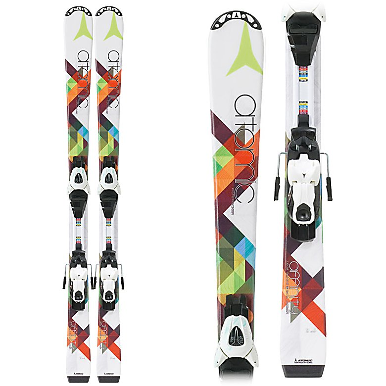 Ski Atomic Affinity III Kids Skis with XTE 045 Bindings - The Atomic Affinity III Junior Skis are great the young skier ready to take on just about any terrain on the mountain. Built with Cap Fiber Construction, these Affinitys are very durable and provide optimum edge grip in the most difficult of conditions when they're speeding down the mountain. The Affinity III's have a Piste Rocker and broad tip which will give them great lift on any terrain. Overall, these skis boast some easy-turning with no edge catching so any young skier will love the look and feel of these skis. With its stable platform and functionality, the Atomic Affinity III Junior Skis are great for the girl who needs a solid beginner ski to really beef up their skills so they can one day rule the mountain. . Tip/Waist/Tail Widths: 106.5/65/87mm (@ 130cm), Actual Turn Radius @ Specified Length: 11m (@ 130cm), Warranty: One Year, What Binding is Included?: XTE 045, Construction Type: Cap, Core Material: Composite, Base Material: Extruded, Tail Profile: Flat, Special Features: Piste Rocker, Special Features: Cap Fiber Construction, Bindings Included: Yes, Binding DIN: 0.5-4.5, Rocker: Tip Rocker/Camber, Binding Weight Range: Not Specified, Used: No, Titanium: No, Turn Radius: 11-15, Waist Width: 60-69mm, Skill Range: Beginner - Advanced Intermediate, Model Year: 2013, Product ID: 314006, Ski Gear Intended Use: All Mountain, Type: Frontside Skis ( - $199.95