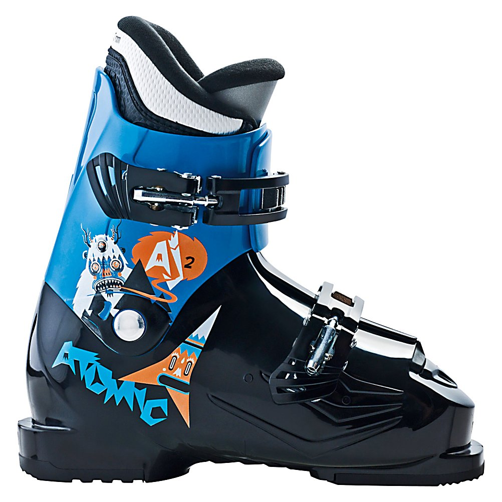 Ski Atomic AJ 2 Kids Ski Boots - The Atomic AJ 2 Kids Ski Boots boast some fun graphics for your child to show off on the mountain and contain plenty of functionality to ensure he can ski with the best of them. Of course, the best of them is you! This all mountain boot has a super-soft flex and a soft liner to make these boots extremely comfortable and easy to handle from the first run your child makes on the day. There's a narrow last to give a nice snug fit making it quite easy for your junior skier to control the skies. Better control and comfort will equal faster progression for sure. There are a couple buckles with micro buckles to dial in the right fit. The lightweight Atomic AJ 2 Kids Ski Boots will help your young skier continue to love the sport but beware, you may soon find yourself trying to keep up with him. . Actual Flex: 20, Cuff Alignment: Single, Warranty: One Year, Special Features: ASY Junior Liner, Ski Boot Width: Junior, Special Features: Center Rivet, Flex: Soft, Used: No, Ski/Walk: No, Prewired For Heat: No, Number of Micro Buckles: 2, Forefoot Width: Junior Last, Flex Adjustment: No, Buckle Count: 2, Buckle Material: PC Buckle, Category: Downhill, Ski Gear Intended Use: All Mountain, Instep Height: Medium, Calf Volume: Medium, Skill Range: Beginner - Intermediate, Model Year: 2013, Product ID: 314022, Model Number: AE5006920 185, GTIN: 0884397648805 - $69.90