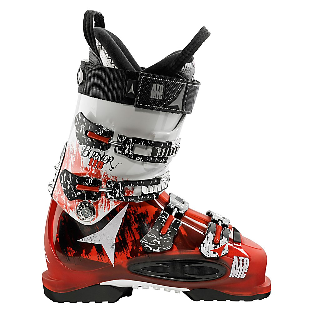 Ski Atomic Burner 110 Ski Boots - The Atomic Burner 110 Ski Boots are your all-mountain boot designed for the skier who really knows their way around the mountain. For advanced skiers, these Burners are made with a stable inside face which will allow the skier to increase the pressure on the ski through every turn and maximize edge grip giving you a truly performance-driven boots to conquer the terrain. For comfort, the Burners are made with a Live Fit Zone on the outside of the boot which helps your feet remain in a natural and more comfortable position and alleviates any pain from pressure points. This feature will give you more balance and stability even as your hard-charging the mountain at high speeds. Skywalk Rubber makes these boot the ideal choice when you're on ridge lines and helicopter skids giving you a secure grip. Technology driven to give you a high-performance boot for all of your all-mountain adventures, the Atomic Burner 110 Ski Boots will have you skiing at your best every time you head out to the mountain. . Actual Flex: 100, Cuff Alignment: None, Warranty: One Year, Special Features: Enduro Chassis, Ski Boot Width: Narrow (95-99mm), Special Features: Skywalk Rubber Soles, Flex: Medium, Used: No, Ski/Walk: No, Prewired For Heat: No, Number of Micro Buckles: 4, Forefoot Width: 98mm at Reference Size 26.5, Flex Adjustment: No, Buckle Count: 4, Buckle Material: Aluminum, Category: Downhill, Ski Gear Intended Use: All Mountain, Instep Height: High, Calf Volume: Medium, Skill Range: Advanced In - $219.95