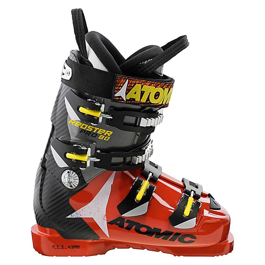 Ski The Atomic Redster Pro 80 is a high end race boot with plenty to offer so you can race at the peak of your performance. By allowing you to rotate the cuff two degrees inward or six degrees outward you can ensure the best alignment so your skis can be more responsive, give you quicker turn initiation, and can be customized to your biomechanical needs. The upper cuff can rotate 5 mm in each direction so you can save big bucks by not having to get this speedster planed.  There's a medium flex frame insert as well as a flat bottom chassis which allows your foot to sit naturally inside the boot for better balance and a more comfortable fit. The Poly Spine adds lots of rigidity with out adding extra weight for increase power and precision. A new sole profile gives the Redster more forefoot flexibility and improved responsiveness so if you are looking for a high powered race boot that will have you biomechanically matched up, the Atomic Redster Pro 80 Ski Boots will be waiting for you and everyone else at the finish line.  35mm Strap,  1mm Offset Shell,  GTIN: 0884397646368, Model Number: AE5007280 225, Product ID: 314012, Model Year: 2013, Skill Range: Advanced Intermediate - Advanced, Calf Volume: Medium, Instep Height: Medium, Ski Gear Intended Use: Race, Category: Race, Buckle Count: 4, Flex Adjustment: No, Forefoot Width: 98mm at Reference Size 26.5, Ski/Walk: No, Used: No, Flex: Medium, Ski Boot Width: Narrow (95-99mm), Warranty: One Year, Cuff Alignment: Dual, Actual Flex: 80 - $109.99
