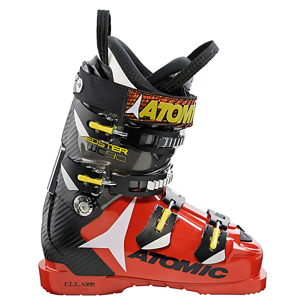 Ski All right, speed demons, you have a new boot in town. The Atomic Redster WC 90 Ski Boots are part of the elite club of fastest World Cup boot range produced by Atomic.  These mean machines have a stiff Poly Spine which channels power directly to the ski so you can exit your turns with more power as well as carve every turn with laser like precision.  You'll be able to precisely adjust the boot cuff to the position of your leg and even utilize the interchangeable Flex Frames to customize the boot to your personal style.  Get the fit just right with the four buckles, all of which have micro buckles, and the 35mm Power Strap.  Of course you'll want a comfortable liner so the ASY Race FIS Liner ensures you have the comfort needed so you can concentrate on speeding.  Whip past the others and feel the speed in every move you make with the aid of these Atomic Redster WC 90 Ski Boots.  0mm and 5mm Cuff Rotation,  35mm Strap,  1mm Offset Shell,  All Low Cuff,  Rotational Power Control - 10mm of Total Rotation,  Carbon Spine,  GTIN: 0884397647068, Model Number: AE5007480 235, Product ID: 314018, Model Year: 2013, Skill Range: Advanced Intermediate - Expert, Calf Volume: Medium, Instep Height: Medium, Ski Gear Intended Use: Race, Category: Race, Buckle Material: Not Specified, Buckle Count: 4, Flex Adjustment: No, Forefoot Width: 95mm at Reference Size 26.5, Number of Micro Buckles: 4, Prewired For Heat: No, Ski/Walk: No, Used: No, Flex: Medium, Special Features: Poly Spine, Ski Boot Width: Narrow (95-99mm), Special Features: ASY Race FIS Liner, Warranty: One Year, Cuff Alignment: Dual, Actual Flex: 90 - $189.77