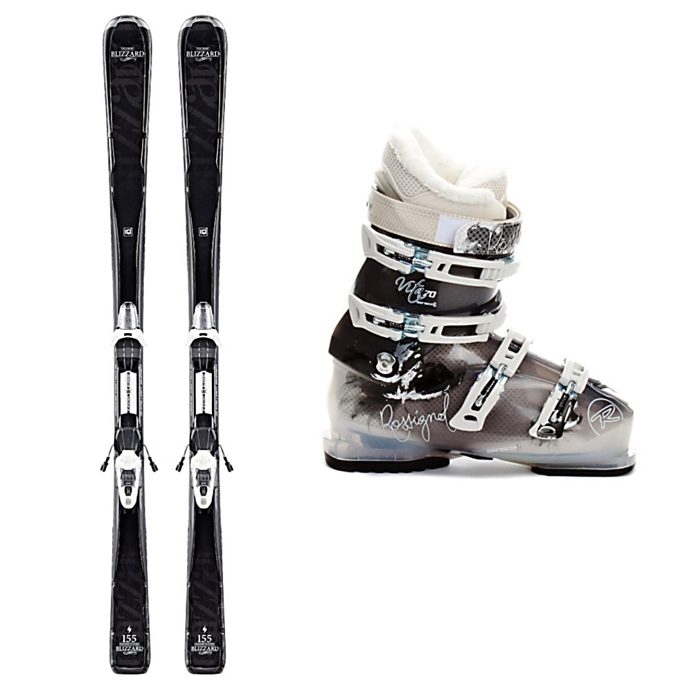 Ski Blizzard Sport IQ Womens Ski Package - If you're a mellow intermediate skier or still consider yourself a beginner then the Blizzard Viva Sport IQ Ski Package is a great one for you. The Blizzard Viva Sport IQ Skis has a solid wood core that will give you a stable and smooth ride without being too heavy. The IQ Sandwich Compound Sidewall Construction will give you power and control as you slide your way down the groomers and the wood core will give you a very lively feel while still being stable at medium speeds. Vertical Sidewalls round out the package, by giving the ski some toughness, stability and edge grip on the firm snow. The Blizzard IQ binding system gives you a nice even, deep flex that has great edge grip and will give you more control over your skis. For boots, you'll have the comfortable and supportive Rossignol Vita Sensor 2 70 Ski Boots. They have a Women's Sensor Shell which accommodates the female leg shape with its narrower heels, smaller forefoot shapes, and lower cuffs. The quilted goose down toe box on the liner adds superior warmth and comfort. Notches in the plastic at the instep area make getting in and out of boots a cinch. If you're ready for a solid pair of skis and boots, forget the rental lines and go with a ski package that allows you to progress and perform at your very best. The Blizzard Viva Sport IQ Ski Package is simply amazing. . Skill Range: Beginner - Advanced Intermediate, Product ID: 313910, Ski Gear Intended Use: All Mountain, Ski Boots:: Rossignol Vita Sensor 2 70 Womens S - $579.95