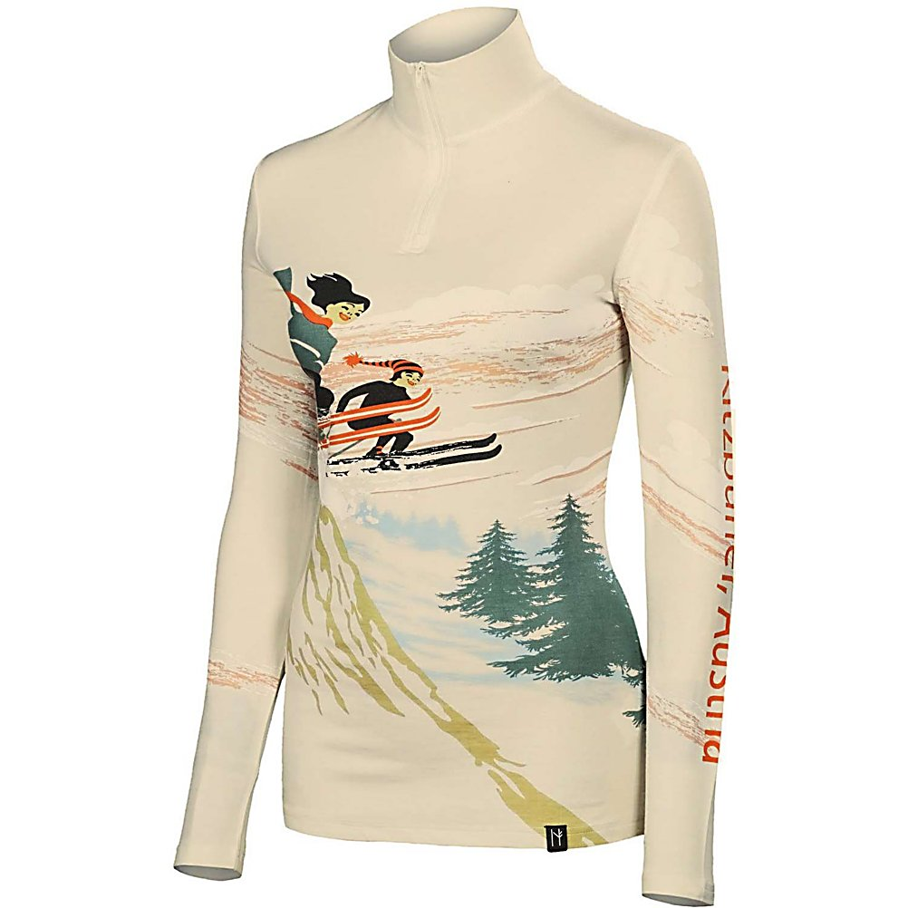 Ski Neve Designs Ski Jumpers Zip Neck Womens Long Underwear Top - The Neve Designs Ski Jumpers Zip Neck Baselayer offers an original vintage design that is constructed from state-of-the-art Silk and Merino Wool blend. It's crafted for impeccable fit and ultimate warmth and softness. Each vintage garment is hand printed in limited quantities, making each one a work of art. The Ski Jumpers Zip Neck is equally at home under your ski sweater or worn alone as a proud symbol of your active alpine lifestyle. . Bearing Grade: Recreational, Fit: Tight, Warranty: Other, Material: Wool, Weight: Mid, Type: Top, Model Year: 2013, Product ID: 313208, Model Number: 2067-XS, GTIN: 0847608027974 - $99.95