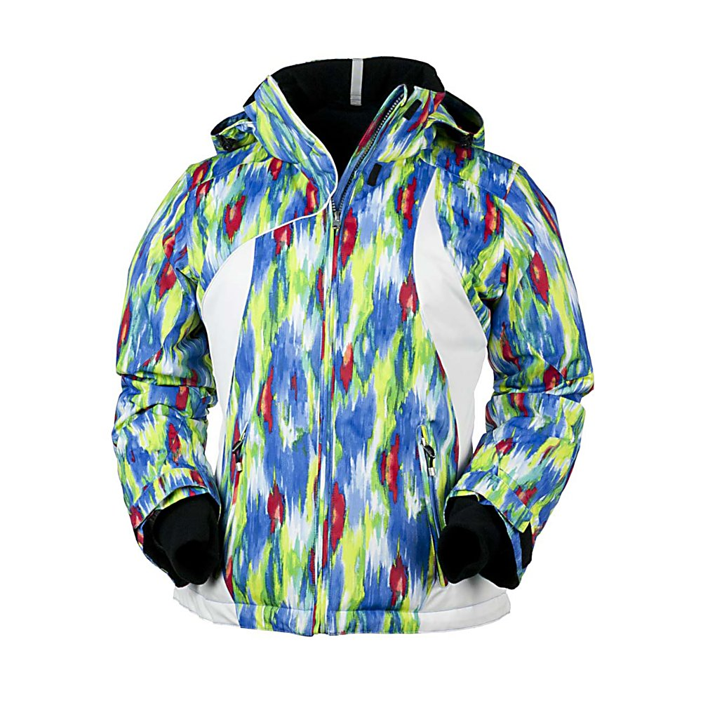 Ski Obermeyer St. Tropez Womens Insulated Ski Jacket - Staying warm in The St.Tropez Jacket has you looking hot! Obermeyer's St. Tropez Jacket keeps you warm and cozy and never disappoints in the looks department. From flashy prints to bright colors the St. Tropez gives you that extra splash of pop - even in the coldest weather conditions. . This jacket is very waterproof and will keep you dry in nearly all unexpected weather changes. The insulation is mid-weight, which is enough to keep you warm as it allows you to stay ventilated an not over heated. The St. Tropez Jacket has curved lines and a sleek style that flatters most all shapes. Features: Fleece-lined collar, Heavy-duty zippers, Inside electronics pocket, Inside goggle pocket, Inside zip pocket, Integrated, adjustable powder skirt with gripper elastic, Internal zipper windguard, Key tab, Reflective trim, Removable hood, Shaped seams for fit, Ski Contour, Ski Critical, Ski pass/ticket ring, Stretch inner cuffs, Tricot-lined handwarmer pockets, Zip pockets. Exterior Material: Polyester, Insulation Weight: N/A, Taped Seams: Critically Taped, Waterproof Rating: 10,000mm, Breathability Rating: 10,000g, Hood Type: Removable, Pit Zip Venting: No, Powder Skirt: Yes, Warranty: Other, Battery Heated: No, Race: No, Type: Insulated, Cut: Regular, Length: Short, Insulation Type: Synthetic, Waterproof: Moderately Waterproof (5000mm-19,999mm), Breathability: High Breathability (9000g-15,000g), Cuff Type: Velcro, Wrist Gaiter: No, Waterproof Zippers: No, Cinch Cord Bottom: Yes, Model Ye - $149.99