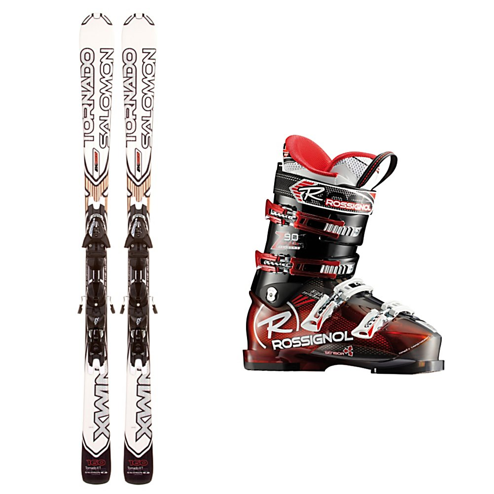 Ski Salomon Tornado XT B90 Ski Package - Whether you're skiing through freshly fallen powder or carving into the groomed trails first thing in the morning, the Salomon Tornado XT Ski Package has all you need to tear it up on the slopes. The Salomon Tornado XT Skis are versatile skis built with a Monocoque Single Wall Construction for good edge grip that is very forgiving. Spaceframe Technology provides you with excellent steering, a better edge grip and more power when you need it. To help reduce vibrations, especially when you're sliding over the crud, are Pulse Pads. These provide you with a smoother, more fun ride, at higher speeds. With the Rossignol Zenith Sensor3 90 Ski boots you can expect power and comfort. Using Sensor3 Technology, you'll have direct contact to help produce incredible power as well as extraordinary control and feel making it so you can truly drive your skis. The Sensor Fit Liner eliminates pressure points from across the top of the toes by having an instep pocket. Even the bottom of the boots offer excellent traction through grippy rubber so you can head to the lodge and walk easily as you enjoy your hot chocolate. Stability on the skis and comfort on the boots makes the Salomon Tornado XT Ski Package one of the best gets for the intermediate skier. . Special Features: Spaceframe Technology, Binding Weight Range: 140-240 lbs., Skill Range: Advanced Intermediate - Expert, Product ID: 314058, Ski Gear Intended Use: All Mountain, Ski Boots:: Rossignol Zenith Sensor3 90 Ski Boots, Ski Bindings: - $599.95