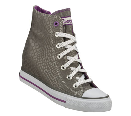 She'll stand tall and look fashionable in the SKECHERS HyDee HyTops: Gimme - Mucho Dinero shoe.  Soft canvas fabric upper in a lace up casual high top hidden wedge sneaker with stitching and overlay accents. - $53.00