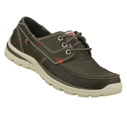 Versatile style combines with amazing comfort in the SKECHERS Relaxed Fit(R): Superior - Tevin shoe.  Lightly distressed oiled leather upper in a lace up casual moc toe oxford with stitching and overlay accents. - $75.00