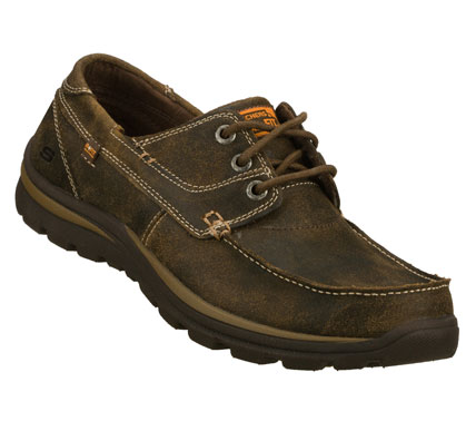 Versatile style combines with amazing comfort in the SKECHERS Relaxed Fit(R): Superior - Tevin shoe.  Lightly distressed oiled leather upper in a lace up casual moc toe oxford with stitching and overlay accents. Memory Foam insole. - $75.00
