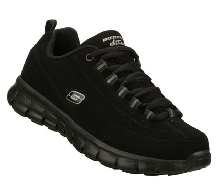 Fitness Lead the way in sporty classic style and comfort with the SKECHERS Synergy - Trend Setter shoe.  Smooth leather and synthetic upper in a lace up athletic sporty training sneaker with Memory Foam cushioning; stitching and overlay detail. - $65.00