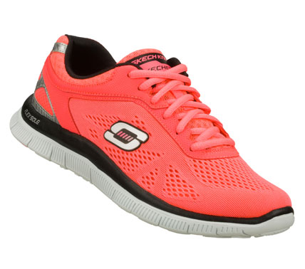 Fitness Stay cool and breezy with the SKECHERS Flex Appeal - Love Your Style shoe.  Unique Skech-Knit Mesh fabric and smooth faux leather upper in a lace up sporty athletic training sneaker with stitching accents and Memory Foam insole. - $70.00