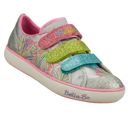 Spotlight-stealing style and lots of fun come in the SKECHERS Bella Ballerina: Curtsies - Finale shoe.  Soft satiny fabric and glitter finish fabric upper in a three strap front casual sneaker with spinning disk feature. - $52.00