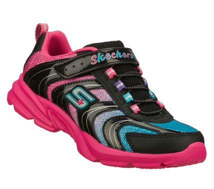 Fitness She'll love to run and play all day in the SKECHERS Lite Curvez shoe.  Smooth leather; shiny patent synthetic and colorful mesh fabric upper in a slip on bungee laced athletic sporty sneaker with stitching and overlay accents. - $38.00