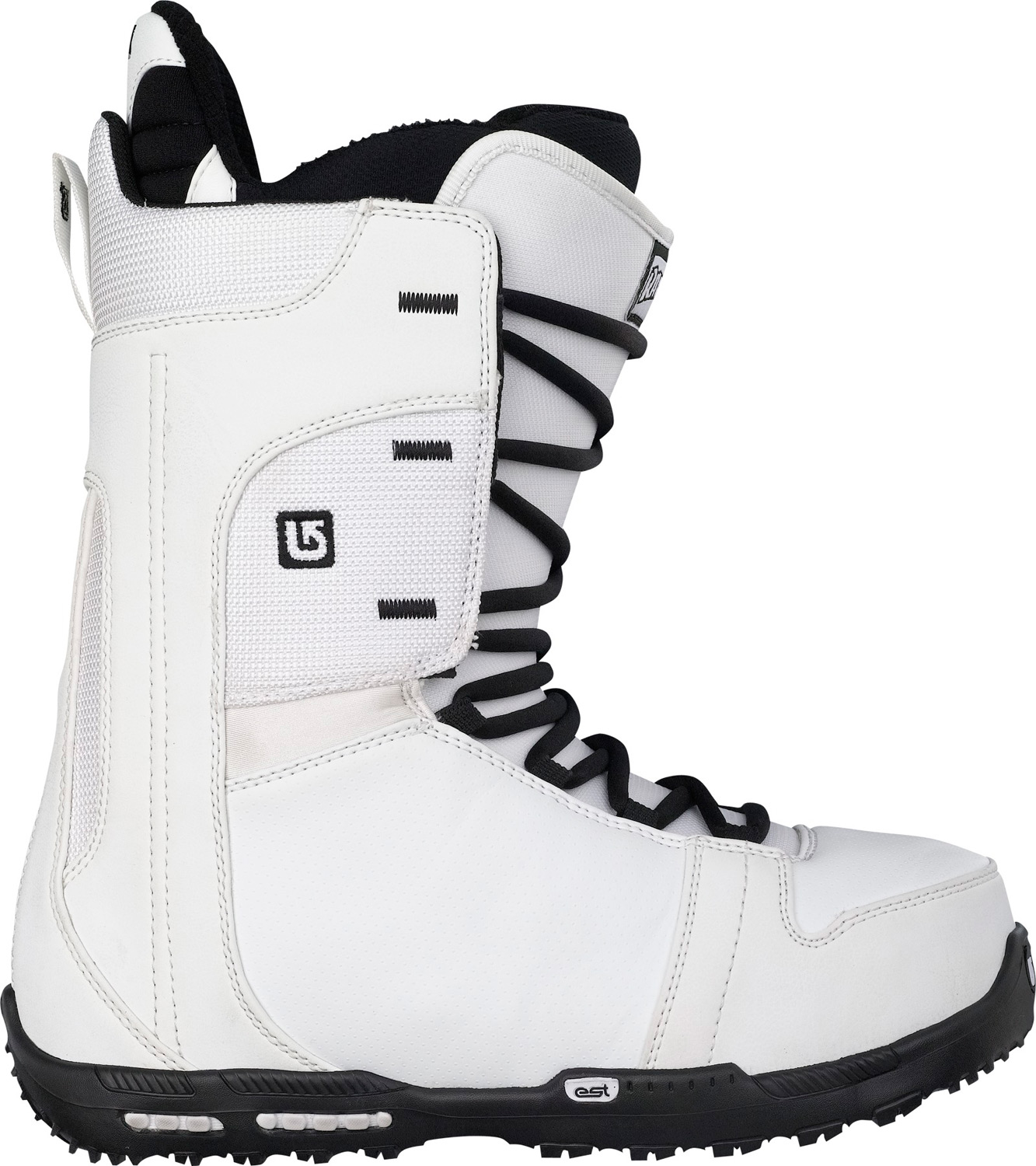 Snowboard Burton's lightest boot ever.Key Features of the Burton Rampant Snowboard Boots:  SUPPORT: 5   Shrinkage Footprint Reduction Technology   LACING: Traditional   LINER: Flex Liner with Rad Pad for Lace Comfort   CUSHIONING: DynoLite EST Optimized Outsole with B3 Gel Cushioning   FLEX AND RESPONSE: NEW Crossbone Upper Cuff, Flex Spine Backstay, and Medium Flex Thin Profile 3D Molded Tongue   COMFORT: NEW Snow-Proof Internal Gusset and Ultra Cush Park 2 Footbed with Aegis Antimicrobial Coating - $129.95