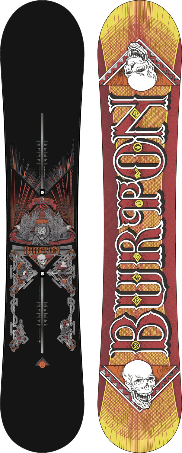 Snowboard This board has some minor cosmetic defects-nothing that affects the performance Key Features of the Burton TWC Pro Snowboard: Gondola Package The Channel Camber SHAPE: Directional FLEX: Directional CORE: Super Fly II with Dualzone EGD FIBERGLASS: Triax Fiberglass with Lightning Bolts and Carbon I-Beam BASE: Sintered WFO SIDEWALLS: Slantwall EXTRAS: Frostbite Edges, Pro-Tip Infinite Ride Shaun worked with Norman Orr , a legendary poster artist for the iconic rock venue Fillmore West. The detail is insane. Artist: Norman Orr - $275.16