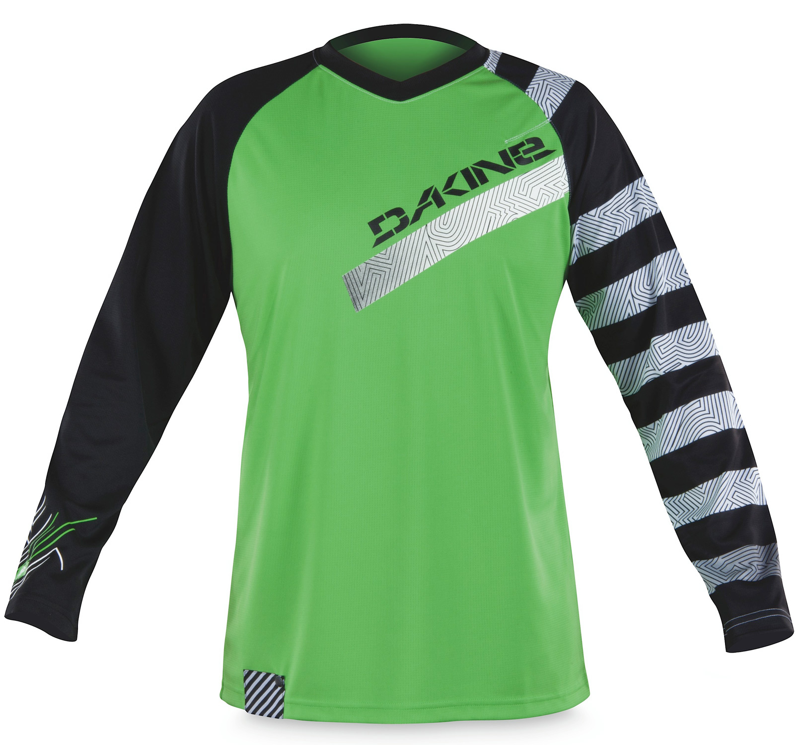 Surf Key Features of the Dakine Descent L/S Bike Jersey: High v-neck collar Raglan sleeve construction Ribbed cuff on long sleeve style only Interior sunglass wipe Fit: DH/Freeride 220g 100% Quick dry polyester with Microban antimicrobial technology - $35.95