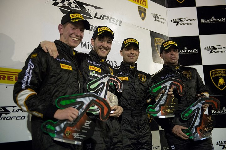 Motorsports Amateur Andrea Solimè and team-mate Andrea Palma take a popular win at the Lamborghini Blancpain Super Trofeo inaugural night race at Misano