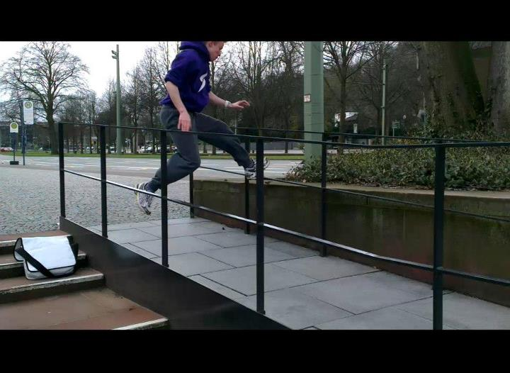 Parkour 15 years old Marcel Schin from germany.  http://www.youtube.com/watch?v=0C3AUYIUMLU
