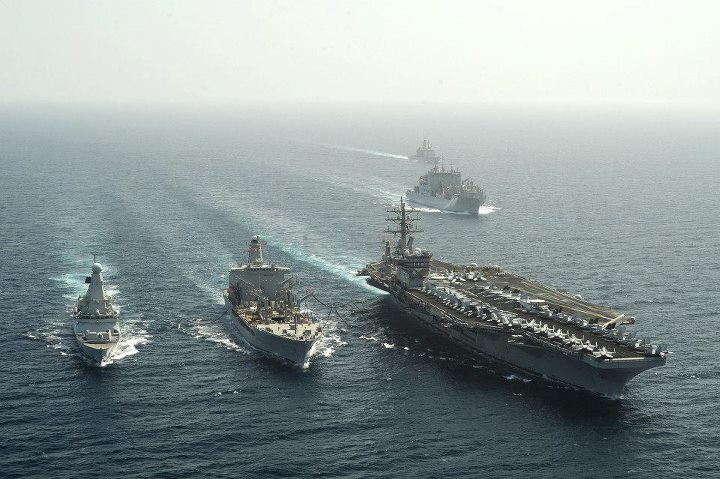 Guns and Military 130420-N-GC639-076 NORTH ARABIAN SEA (April 20, 2013) British destroyer HMS Dragon (D35) and the aircraft carrier USS Dwight D. Eisenhower (CVN 69) steam alongside fleet replenishment oiler USNS Walter S. Diehl (T-AO 193) conducting a replenishment-at-sea