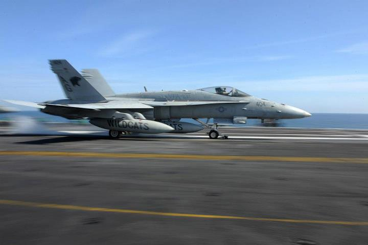Guns and Military 130429-N-GC639-100 NORTH ARABIAN SEA (April 30, 2013) An F/A-18C Hornet assigned to the Wildcats of Strike Fighter Squadron (VFA) 131 launches from the flight deck of the aircraft carrier USS Dwight D. Eisenhower (CVN 69). Dwight D. Eisenhower is deployed
